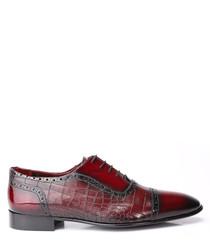 Bordeaux leather moc-croc Derby shoes