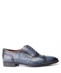 Blue leather moc-croc brogues