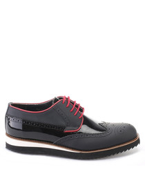 Black & red leather casual brogues