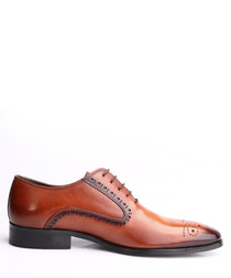 Tan brown leather Derby shoes