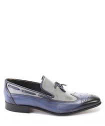 Blue leather two-tone brogue loafers