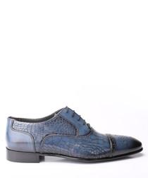 Dark blue leather moc-croc Derby shoes