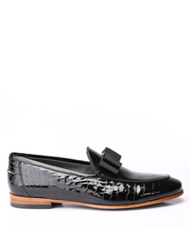 Black leather bow detail loafers