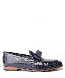 Dark blue leather bow detail loafers
