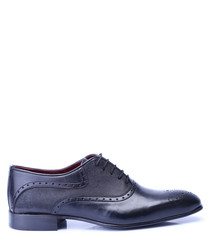 Black leather two-tone brogues