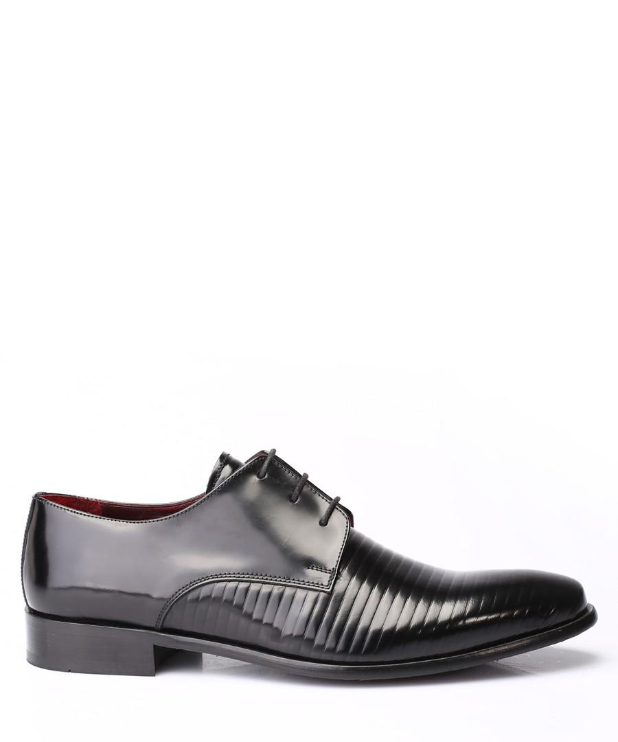Black leather ribbed Derby shoes Sale - s baker