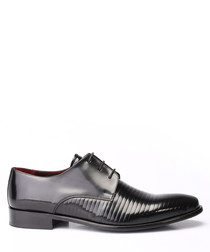 Black leather ribbed Derby shoes