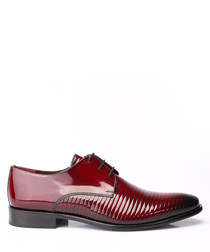 Bordeaux leather ribbed Derby shoes