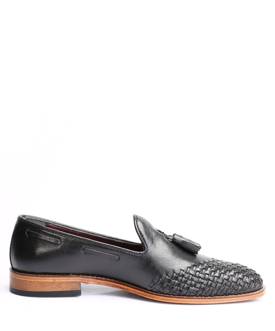 Black leather weave-toe loafers Sale - s baker