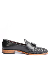 Black leather weave-toe loafers
