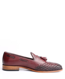 Bordeaux leather weave-toe loafers