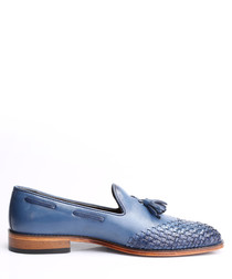 Dark blue leather weave-toe loafers
