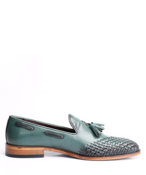 Green leather weave-effect loafers
