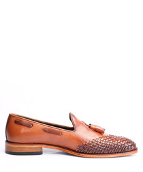 Tan leather weave-toe loafers