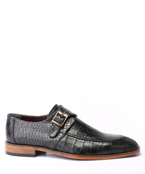 Black leather moc-croc buckle shoes