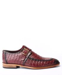 Bordeaux leather moc-croc buckled shoes