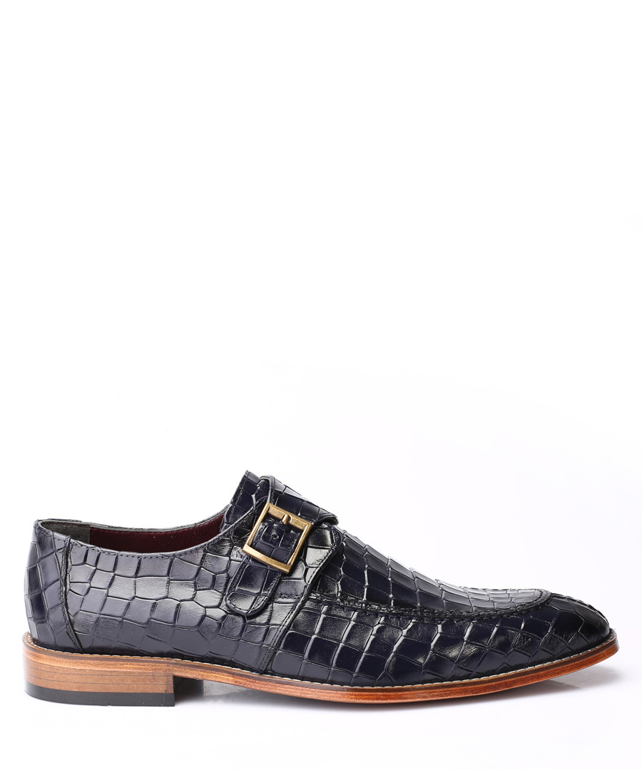 Navy leather moc-croc buckle shoes Sale - s baker