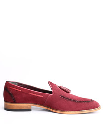 Bordeaux suede tassel loafers