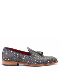 Pattern leather tassel loafers
