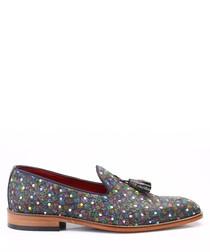 Pattern leather tassel loafers