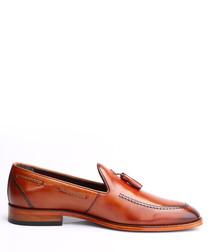Tan leather tassel loafers