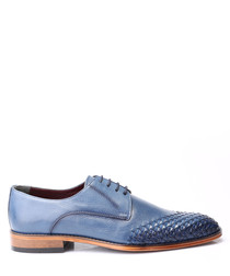 Blue leather weave-toe Derby shoes