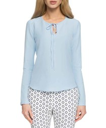Light blue tie front blouses