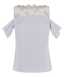 Halle pale blue lace cold-shoulder top