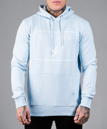 Pale blue cotton printed hoodie