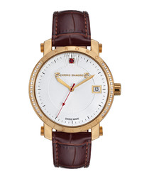 Nesta brown & gold-tone leather watch