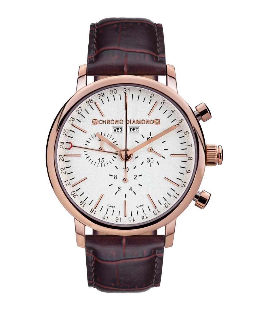 Argos rose gold-tone leather watch Sale - chrono diamond