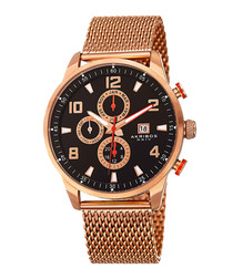 Rose gold-tone steel mesh watch