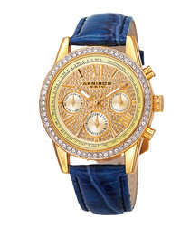 Gold-tone steel & blue leather watch