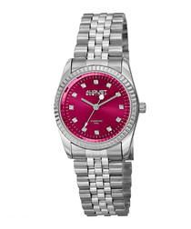 Silver-tone & pink dial link watch