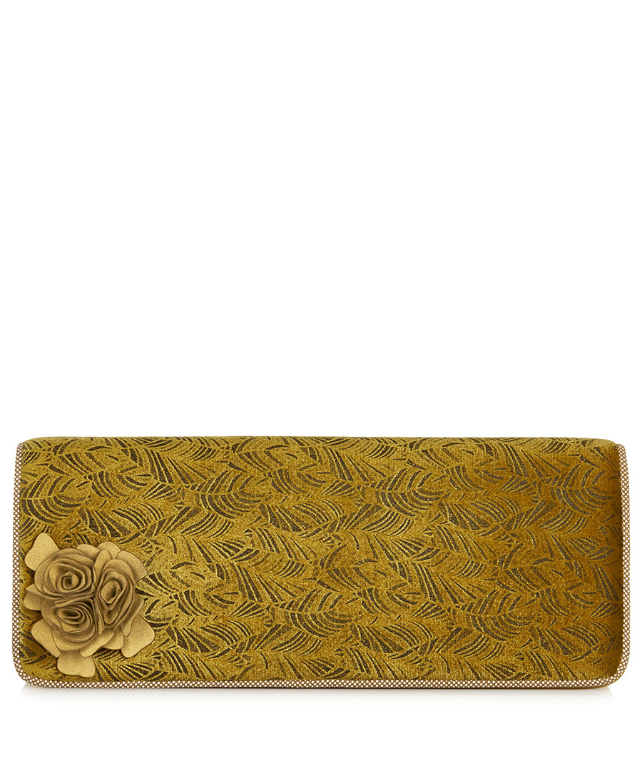 London ochre textured floral clutch Sale - ruby shoo