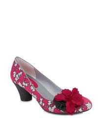 Samira charcoal / white floral heels