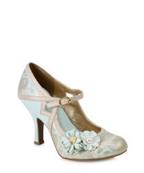 Yasmin blue & silver floral heels
