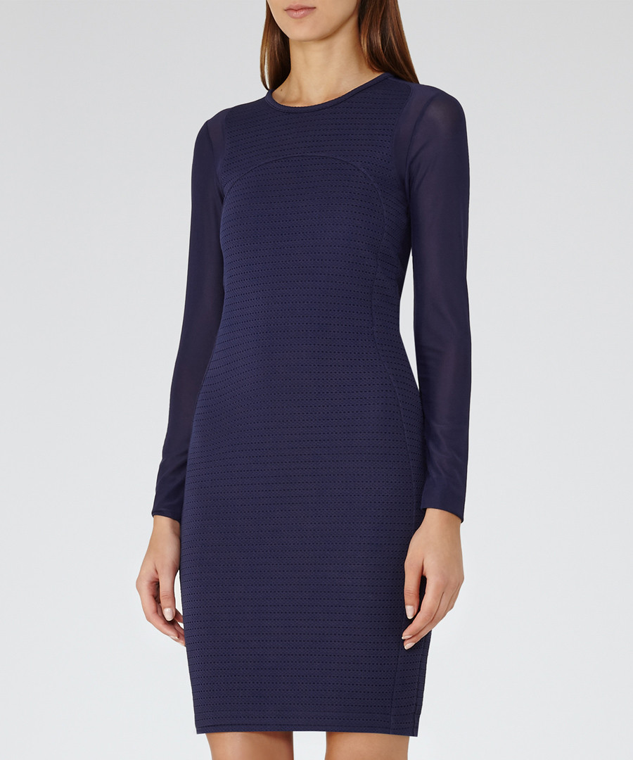 Indigo long-sleeve bodycon dress Sale - Reiss