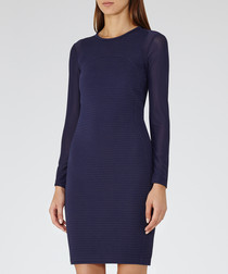 Indigo long-sleeve bodycon dress