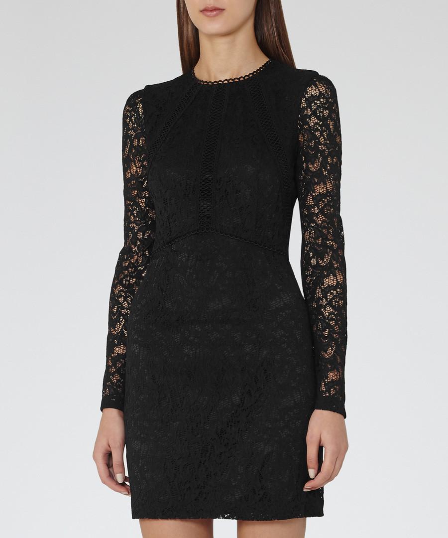 Black lace sleeve bodycon dress Sale - Reiss