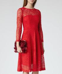 Women's Rhomona red lace 3/4 dress
