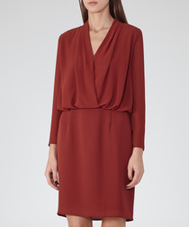 Women's dark red long sleeve dress