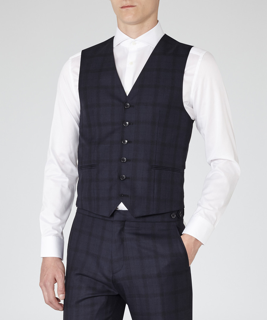 Stryker navy wool blend waistcoat Sale - Reiss