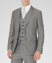 Garth grey wool blend blazer