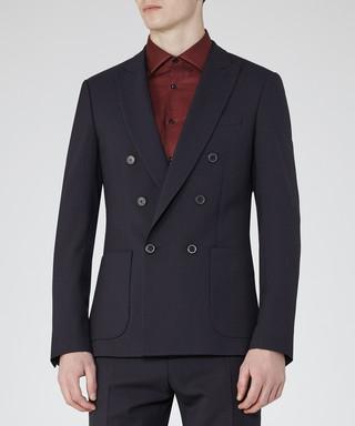 meet 3dc4d 76b52 Barca navy wool blend slim fit blazer Sale - Reiss Sale