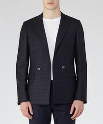 Calcium navy wool blend blazer