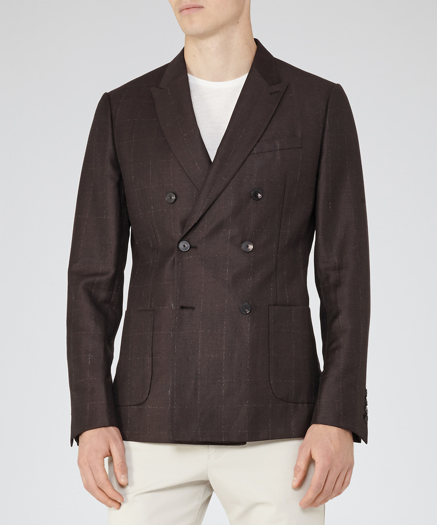 Lamella brown wool & linen blend blazer Sale - Reiss