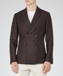 Lamella brown wool & linen blend blazer