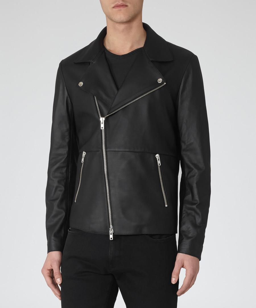 Men's Aviator black leather jacket Sale - Reiss