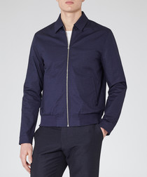 Rocco navy cotton blend textured jacket